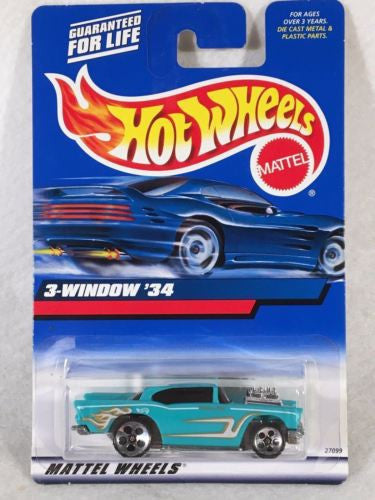 2000 Hot Wheels Diecast Car - #105 '57 Chevy Error on Card #132 3-Window '34   - TvMovieCards.com