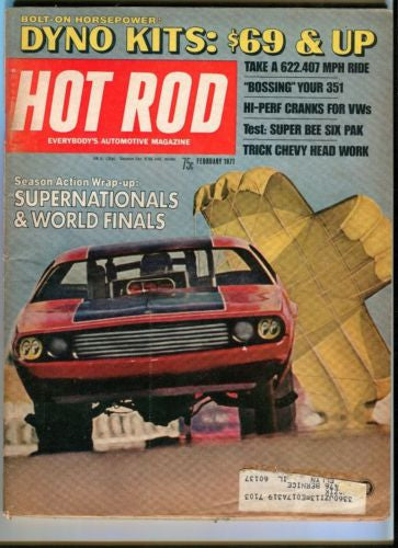 1971 February Hot Rod Magazine March Back Issue - Supernationals & World Finals