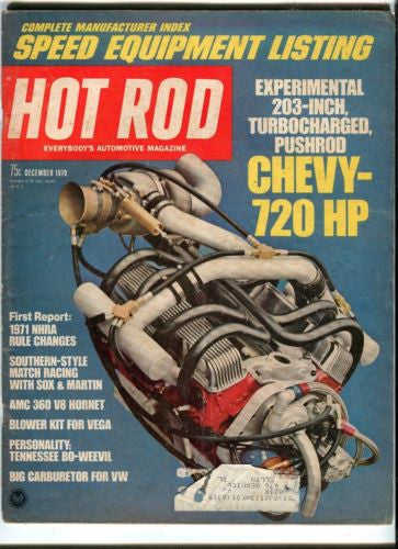 1970 December Hot Rod Magazine March Back Issue - Turbocharged 720 HP Chevy   - TvMovieCards.com