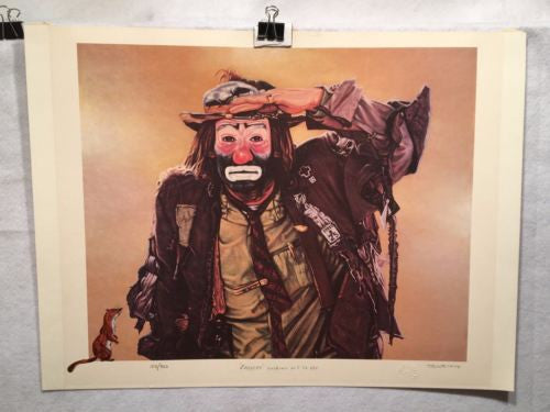 "Emmett Kelly ""Looking out to See"" Signed Lithograph Print Robert Blottiaux   - TvMovieCards.com"