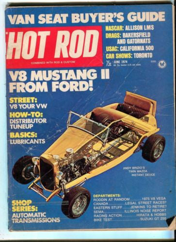 1974 June Hot Rod Magazine March Back Issue - V8 Mustang II from Ford