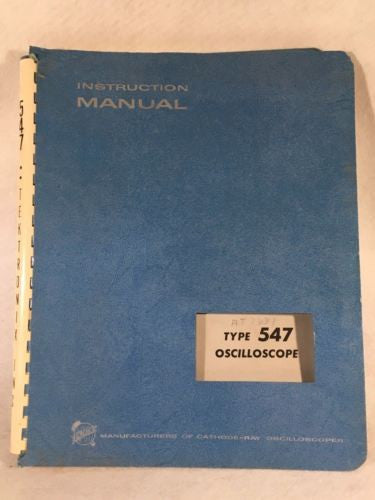 Tektronix Type 547 Oscilloscope Instruction / Service Manual P/N 070-398   - TvMovieCards.com