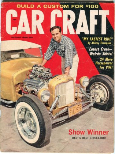"1959 August Car Craft Magazine Back Issue - ""My Fastest Ride"" Mickey Thompson   - TvMovieCards.com"