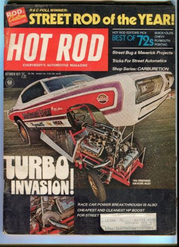 1971 October Hot Rod Magazine March Back Issue - Turbo Invasion