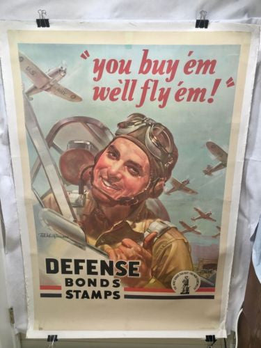 "Huge 1942 WWII War Bond ""You Buy 'em, We'll Fly 'em! Defense Bond Stamps"" Poster"