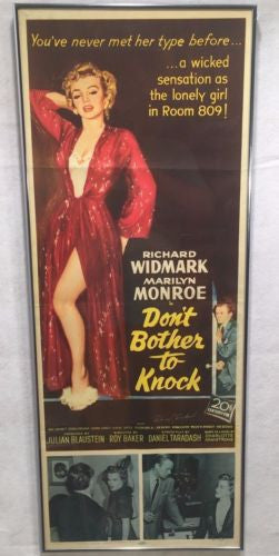 "Original 1952 ""Don't Bother To Knock"" Insert Movie Poster 14 x 36 Marilyn Monroe"