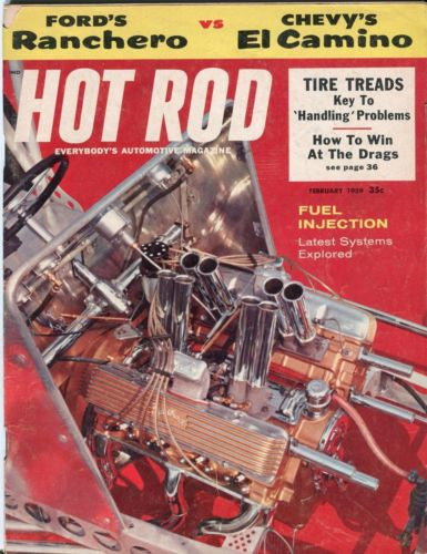 1959 February Hot Rod Magazine Back Issue - Ford Ranchero vs Chevy El Camino   - TvMovieCards.com