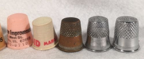 9 Vintage Advertising Thimbles Mu-Maid Best Feeds Fuller Seed Co Richter Meats   - TvMovieCards.com