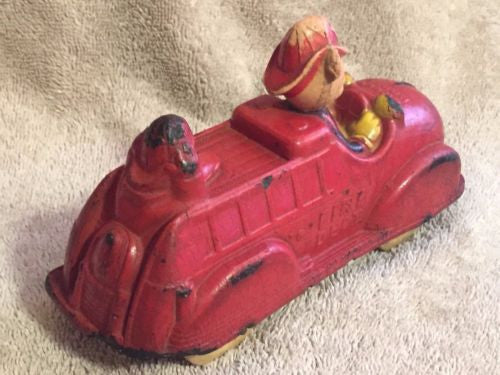 1930s Original Sun Rubber Walt Disney Mickey Mouse / Donald Duck Fire Truck Toy   - TvMovieCards.com
