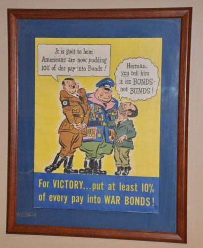 "1942 WWII US War Bond Poster Hitler Framed ""For Victory 10%"" 21"" x 16"""