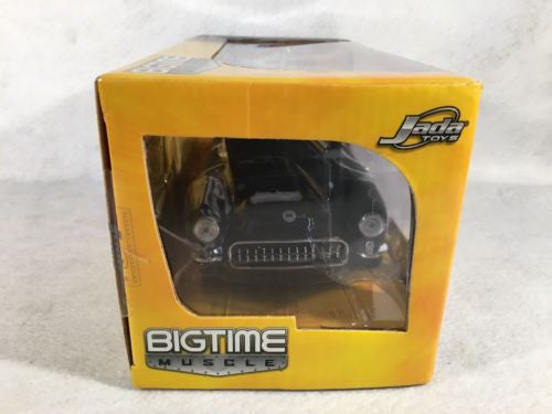 Jada Bigtime Muscle Diecast Car 1:24 57 Chevy Corvette Flat Black Custom Engine   - TvMovieCards.com