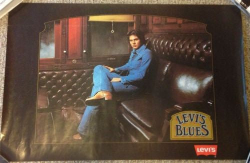 "Vintage 1970s Levi's Strauss ""Levi Blues"" Poster Original Advertising 18.5 x 28   - TvMovieCards.com"