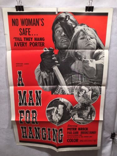"Original 1973 ""A Man For Hanging"" 1 Sheet Movie Poster 27""x 41"""