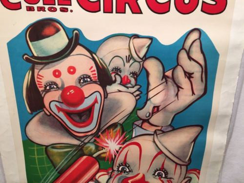 Original 1950s Clyde Beatty Cole Bros Circus Poster Clowns Dynamite Linen Backed   - TvMovieCards.com