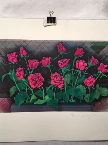 Vintage Sidney Harr? Roses Windowsill Lithograph Signed Numbered 60/101 Print   - TvMovieCards.com