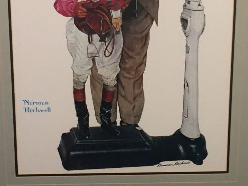 "Vintage Framed Norman Rockwell ""Weighing In"" Hand SIGNED Print Black Ink Auto   - TvMovieCards.com"
