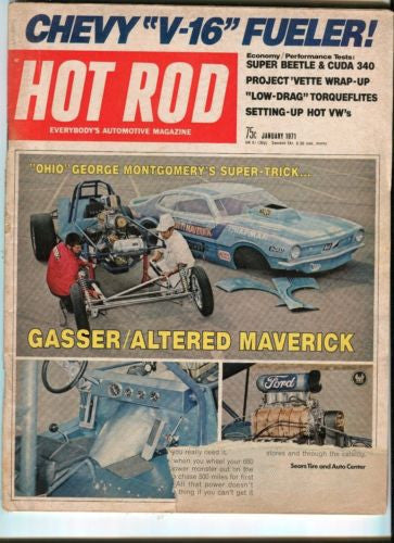 1971 January Hot Rod Magazine March Back Issue - Chevy V16 Fueler