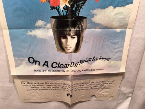 "Original 1970 ""On a Clear Day You Can See Forever"" 1 Sheet Movie Poster 27x 41""   - TvMovieCards.com"