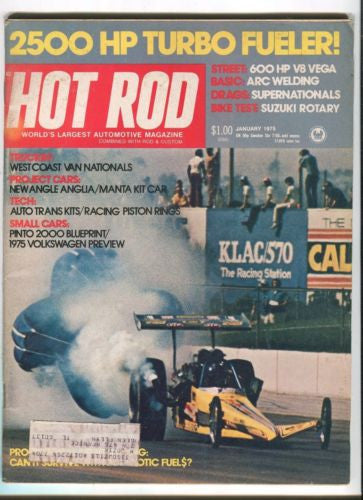 1975 January Hot Rod Magazine March Back Issue - 2500 HP Turbo Fueler   - TvMovieCards.com