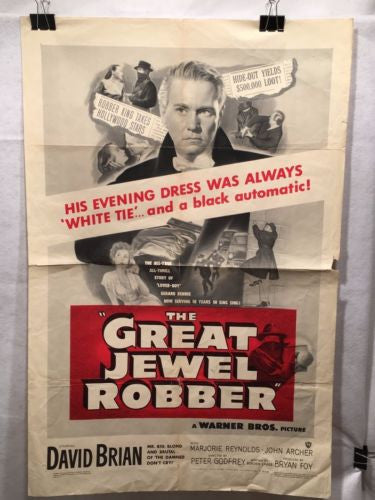 Original 1950 The Great Jewel Robber Movie Poster 27 x 41 Great for Decor   - TvMovieCards.com