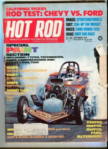 1974 September Hot Rod Magazine March Back Issue - Rod Test: Chevy vs Ford