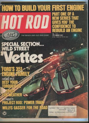 1972 Hot Rod Magazine August Back Issue - Wild Street Vettes