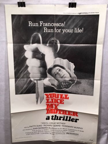 "Original 1972 ""You'll Like My Mother"" 1 Sheet Movie Poster 27x 41"" Patty Duke"