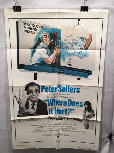 "Original 1972 ""Where does it hurt?"" 1 Sheet Movie Poster 27""x 41"" Peter Sellers"