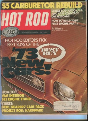 1972 Hot Rod Magazine October Back Issue - Best Buys of the '73 New Cars