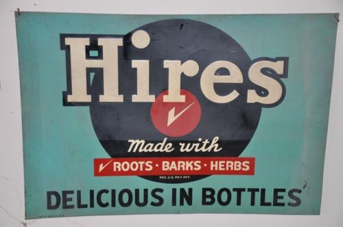 "Rare Large 48"" Hires Root Beer ""Delicious in Bottles"" Advertising Sign Soda Pop   - TvMovieCards.com"