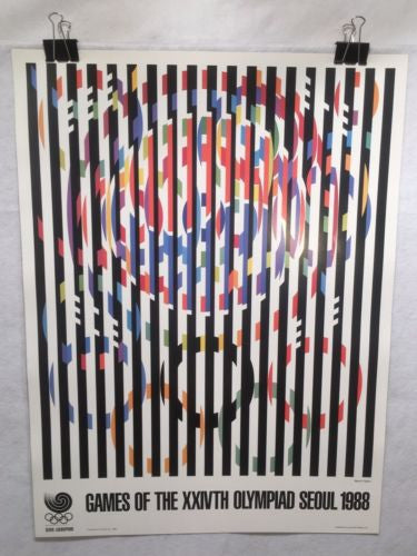 "1988 Original Seoul Olympics Yaacov Agam ""Message of Peace"" Poster South Korea   - TvMovieCards.com"