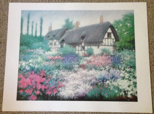 1990 Chun Lithograph Print Anne Hathaway's Cottage Signed/Numbered 411/1990   - TvMovieCards.com