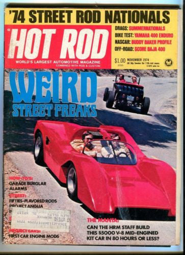 1974 November Hot Rod Magazine Back Issue - Weird Street Freaks - Buddy Baker   - TvMovieCards.com