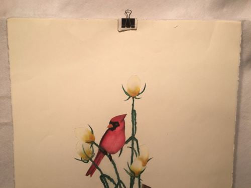"Vintage Laura Nevin ""Cardinals"" Etching Lithograph Print Signed Numbered 85/100   - TvMovieCards.com"
