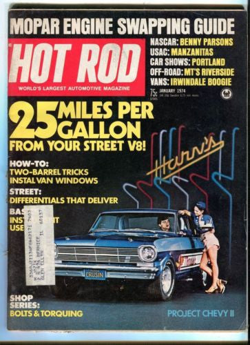 1974 January Hot Rod Magazine March Back Issue - 25 MPG From Your Street V8