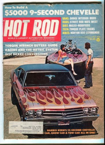 1975 July Hot Rod Magazine March Back Issue - $5000 9-Second Chevelle