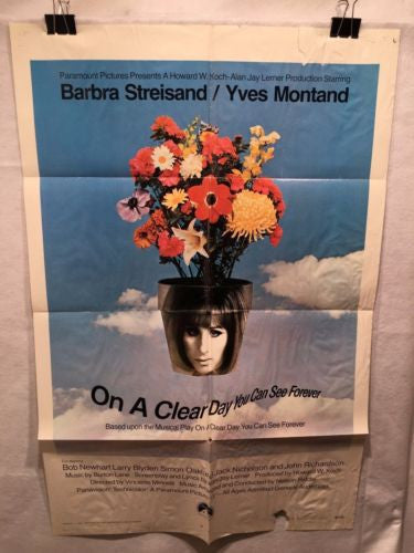 "Original 1970 ""On a Clear Day You Can See Forever"" 1 Sheet Movie Poster 27x 41"""