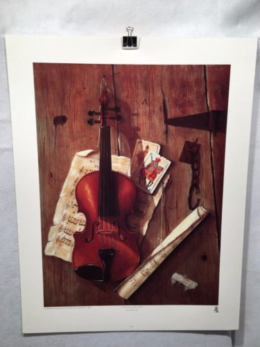 Violin with Playing Cards - William Galvez - Haddad's Fine Arts 29x22 Art Print   - TvMovieCards.com