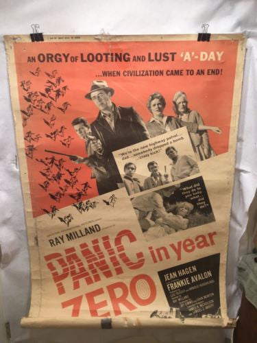 "Vintage Original Panic in Year Zero Movie Poster - 1962 - Ray Milland 40""x60""   - TvMovieCards.com"