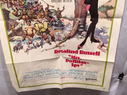"Original 1971 ""Mrs Pollifax Spy"" 1 Sheet Movie Poster 27""x 41"" Rosalind Russell   - TvMovieCards.com"