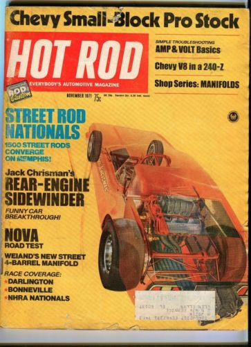 1971 November Hot Rod Magazine March Back Issue - Jack Chrisman's Sidewinder   - TvMovieCards.com