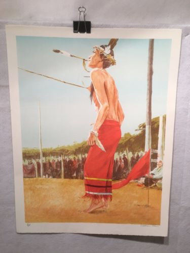 "Vintage Western Indian Artwork ""The Dancer"" William Nelson Signed Numbered 4/275   - TvMovieCards.com"