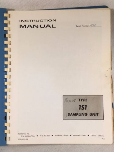 Tektronix Type 1S1 Sampling Unit Instruction / Service Manual P/N 070-0475-00   - TvMovieCards.com