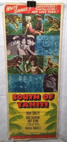 "Original 1948 ""South of Tahiti"" Rerelease Insert Movie Poster 14 x 36   - TvMovieCards.com"