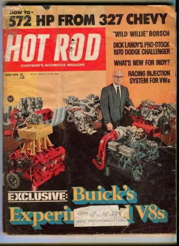 1970 May Hot Rod Magazine Back Issue - 572 HP from 327 Chevy Dick Landy