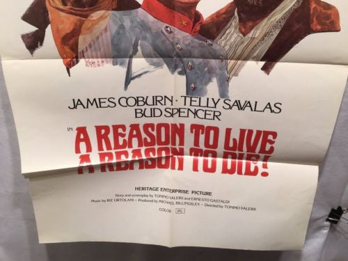 "Original 1972 ""A Reason to Live A Reason to DIe!"" 1 Sheet Movie Poster 27""x 41""   - TvMovieCards.com"