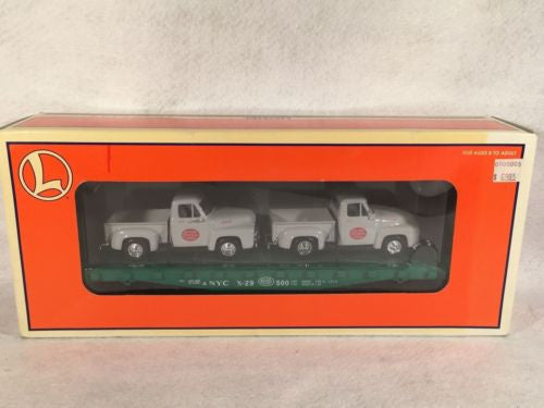 Lionel O Scale 6-17551 NYC New York Central Flatcar with 2 F100 Pickup Trucks