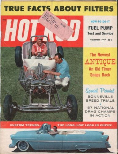 1957 November Hot Rod Magazine Back Issue - '57 National Drag Champs In Action