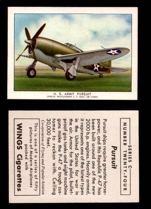 1942 Modern American Airplanes Series C Vintage Trading Cards Pick Singles #1-50 24	 	U.S. Army Pursuit  - TvMovieCards.com