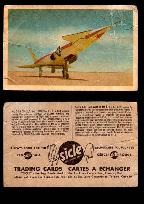 1959 Sicle Aircraft & Missile Canadian Vintage Trading Card U Pick Singles #1-25 #24 X-10  - TvMovieCards.com